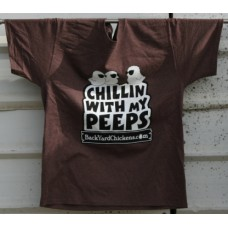 Chillin With My Peeps Unisex Tee- Brown Heather